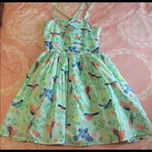 Mint green pleated lolita bird floral dress